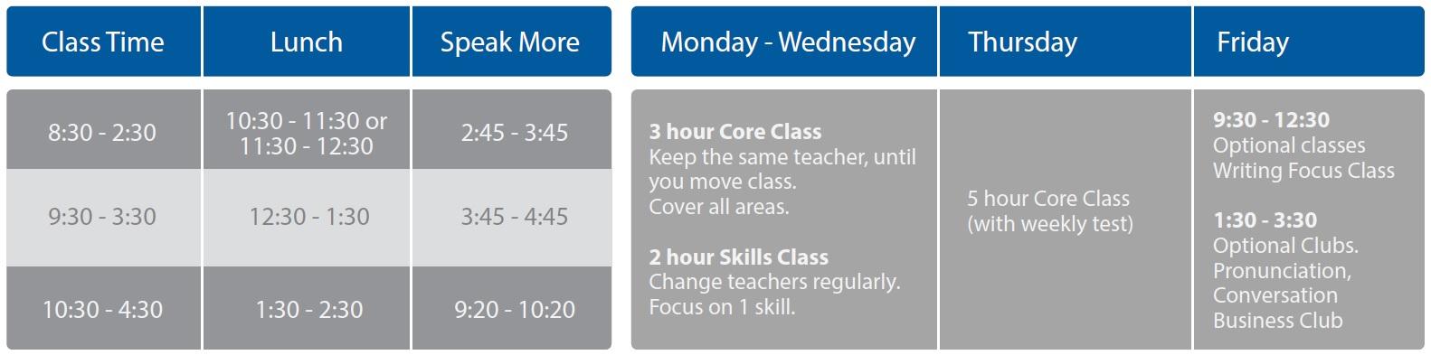GE timetable